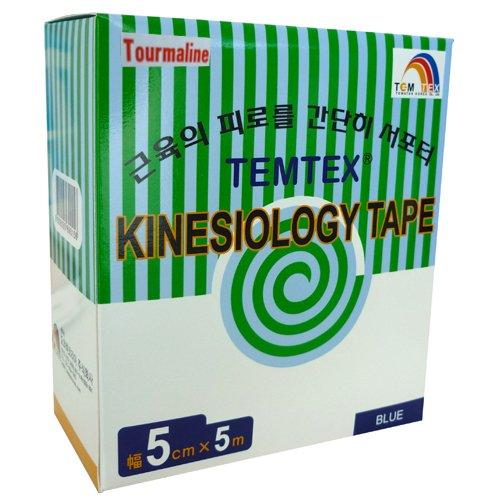 temtex–Tourmaline Kinesiology Tape 5x 56UDS, Größe 5cm x 5m, Blau