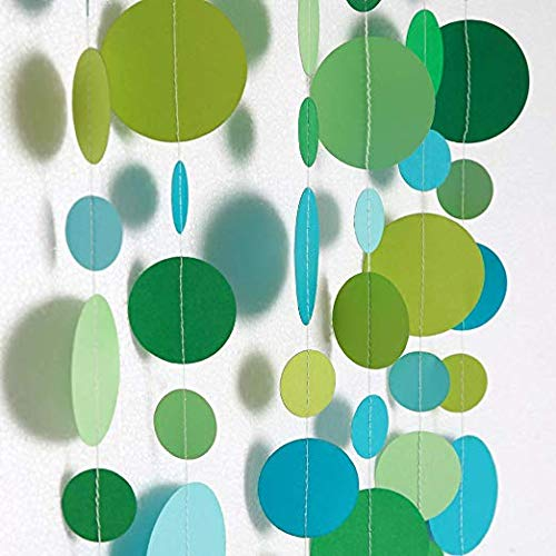 Pink Blume Green and Blue Circle Dots Garlands Kit for Party Decorations Spring Summer Bubble Hanging Streamer Backdrop Wall Bunting Banner for Wedding/Baby Shower/Birthday Under The Sea/Table Runner