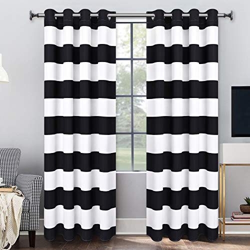 VERTKREA Stripe Window Curtain Striped Room Window Treatment Grommet Curtains 52 × 63 Inches Stripes Drapes for Bedroom Living Room, Black, Set of 2 Panels