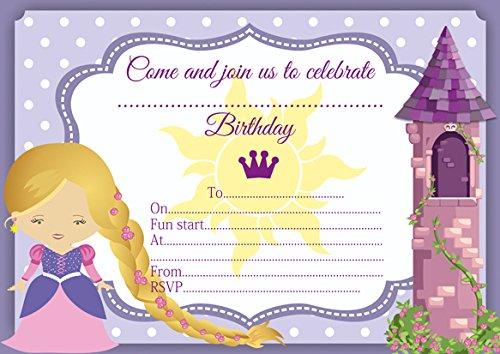 10 x Raiponce Raiponce enfants Invitations Fête d'anniversaire