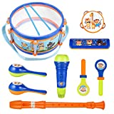 iBaseToy Toddler Musical Instruments Toys, Kids Drum Set, Percussion Musical Set with Tambourine