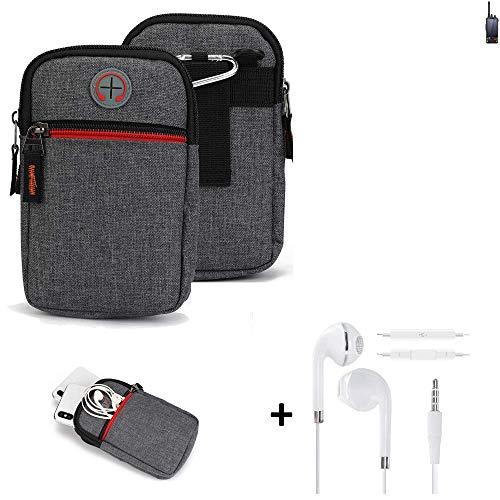 K-S-Trade® Gürtel-Tasche + Kopfhörer Für -Ruggear RG760- Handy-Tasche Schutz-hülle Grau Zusatzfächer 1x