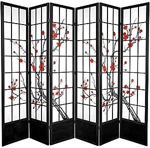 Oriental Furniture 7 ft. Tall Cherry Blossom Shoji Screen - Black - 6 Panels