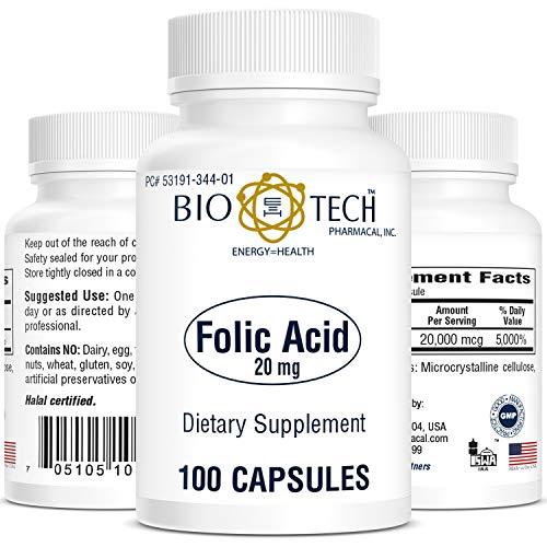 Bio-Tech Pharmacal Folic Acid (20mg, 100 Count)
