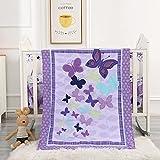 Wowelife Butterfly Nursery Bedding Purple Upgraded 7 Piece Baby Girl Crib Bedding Set (Purple)