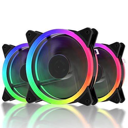 upHere 120mm Colorido LED Ventilador de PC - Ventilador para Ordenador, Silencioso Paquete de 3(F03CF)