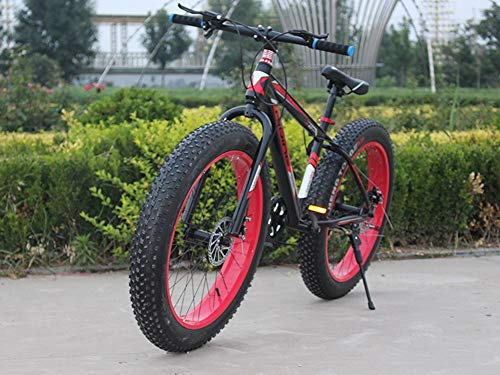 Freedomn 7/21/24/27 Speed Mountain Bike 26 * 4.0 Fat Tire Bikes Shock Absorbers Bicycle Snow Bike (Red black, 7 speed)