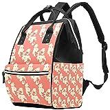 WJJSXKA Mochilas bolsa de pañales para computadora portátil mochila de viaje senderismo mochila para mujeres hombres - guirnaldas de flores coral japonés moderno