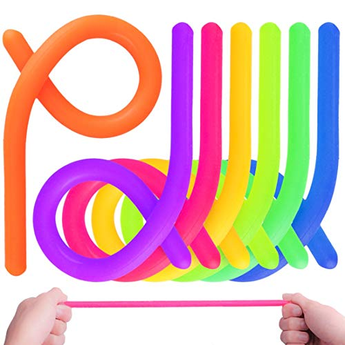 Sensory Fidget Stretchy String Toy for Kids and Adluts with Reduce Anxiety and Stress for ADHD ADD OCD Autism Fiddle Toys(7 Pcs, 7 Colors)