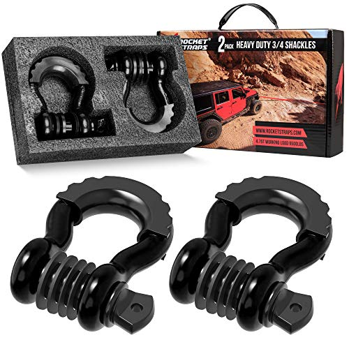 Rocket Straps | (2 ¾' D Ring Shackles (41,850lbs) Break Strength | (2) Shackle Isolators & Washer Kit | ⅞ Pin | Use Our D Rings with Tow Strap, Recovery Rope, Snatch Block, Jeep & Towing Accessories