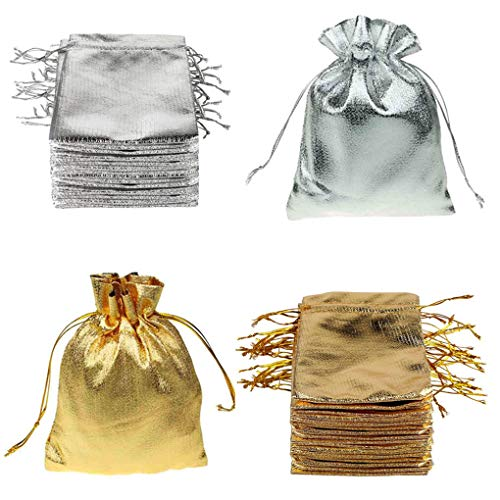Rolin Roly 100 Pacco Sacchetti Coulisse Organza Borse Coulisse Gift Candy Bags for Wedding Party 7 x 9cm