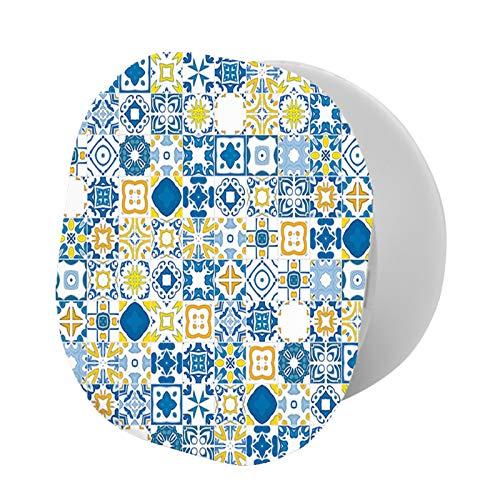 Soporte plegable para teléfono celular, mosaico portugués azulejo mediterráneo, efecto arabesco, soporte ajustable para teléfono móvil