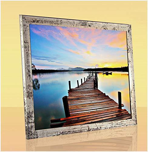 MoltoBene Deluxe Bilderrahmen Puzzlerahmen Posterrahmen 40x60 cm Beige Vintage Shabby Chic 60x40 cm mit weisser Rückwand und klarem Kunstglas