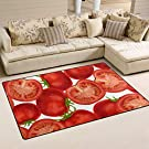 SUKAU ラグマット 洗える 滑り止め付 100×150 トマト柄 ラグ カーペット 長方形