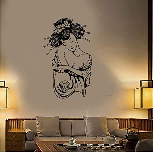 N-P Geisha Japón Hermosa Sexy Oriental Mujeres Vinilo Pared calcomanía decoración del hogar Sala de Estar Arte Mural extraíble Etiqueta de la Pared 58 * 97 cm