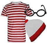 Style Wise Fashion - Juego de camiseta, gorro y gafas, disfraz, unisex para hombre y mujer, camiseta de rayas de color rojo y blanco, ideal para la semana del libro