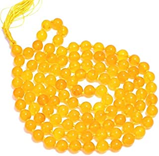 "Zoya Gems & Jewellery Yellow Chalcedony Gemstone Round Smooth Jap Mala 8 mm 32"",Yoga Meditation Beads,Tassel Mala Bead,Yog..."