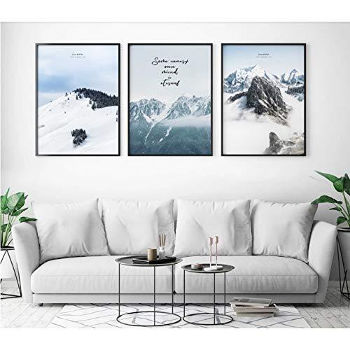 N / A - Póster de lienzo para pared, diseño de nieve alpino