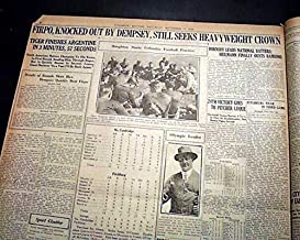 JACK DEMPSEY Heavyweight Boxing Title FIRPO Famous Knockout ROPES 1923 Newspaper FITCHBURG SENTINEL, Mass, September 15, 1923