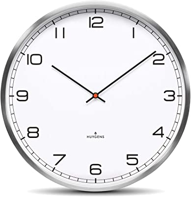 Amazon Com Huygens One45 White Arabic Wall Clock Stainless Steel Home Kitchen