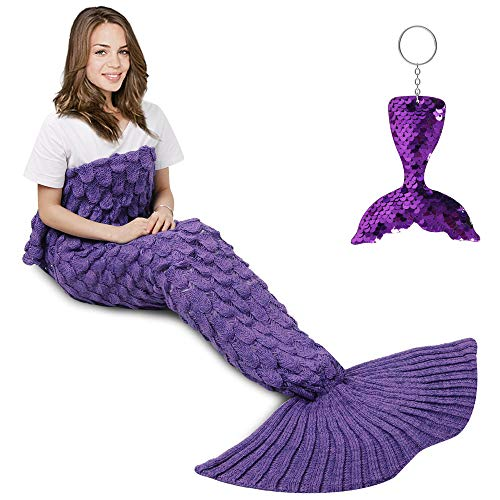 AmyHomie Mermaid Tail Blanket, Mermaid Blanket Adult Mermaid Tail Blanket, Crotchet Kids Mermaid Tail Blanket for Girls (ScalePurple, Adults)