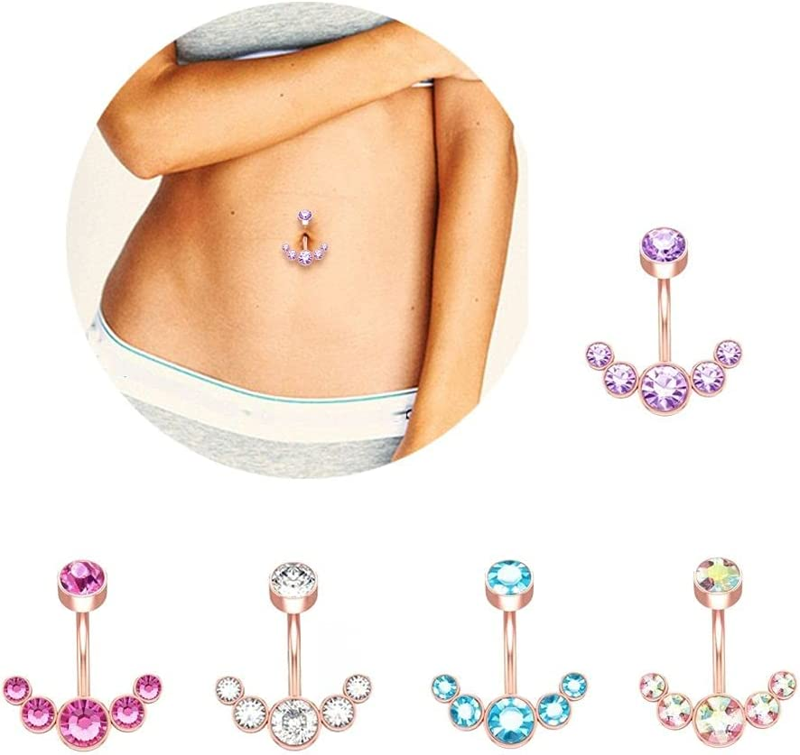 Houchu 5pcs Navel Ring, Dangle Belly Button Rings for Women Girls, Curved Navel Barbell 5 Crystals Piercing Body Jewelry(Crystal,Rose Gold)