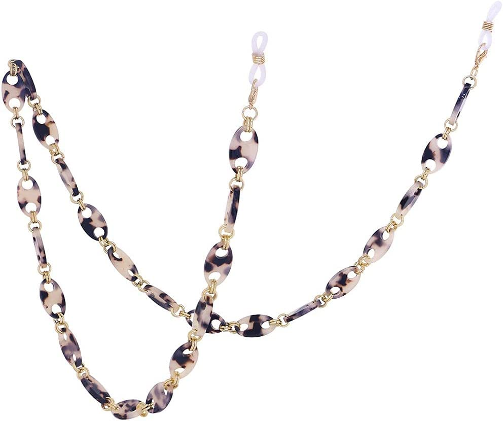 YFQHDD Leopard Resin Hexagon Glasses Chain Women Reading Glasses Hanging Neck Chain Lanyard Strap Necklace Jewelry (Color : J)