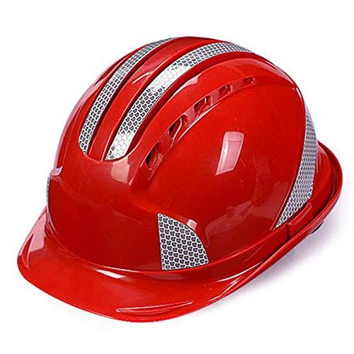ZWSHOP Casco de Seguridad, Líder de Proyecto de construcción de construcción/Energía eléctrica/Casco Transpirable for Hombres y Mujeres con Banda Reflectante (Color : Red)