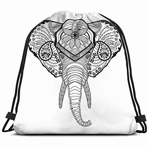 Liliylove Elefantenkopf, Anti-Stress-Malvorlage, abstrakte Tiere, Wildtiere, Kordelzug, leicht, für Wandern, Yoga, Schwimmen, Reisen, Strand