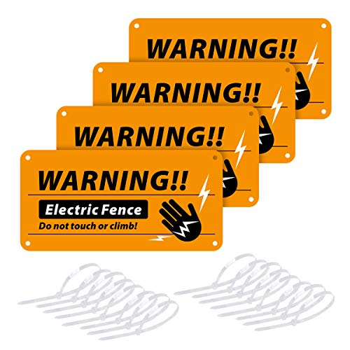 Magicfour Electric Fence Signs, 4 Pack Electric Fence Warning Signs 4'' x 8'' Plastic...