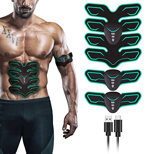 FYLINA Muskelstimulation Elektrostimulation EMS Trainingsgerät Professionelle USB Muskelstimulator Elektrische Bauchmuskeltrainer Elektrostimulatoren für Damen Herren(8 Pads) (Grün)…