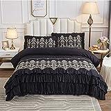 FADFAY Black Bedding Set 4 Piece Premium 100% Cotton 600 TC Hypoallergenic Luxury Chic Ruffled Gold Lace Bed Bedding :1 Zipper Duvet Cover (No Comforter)+1 Bedskirt+2 Pillowcases(Black,Queen)
