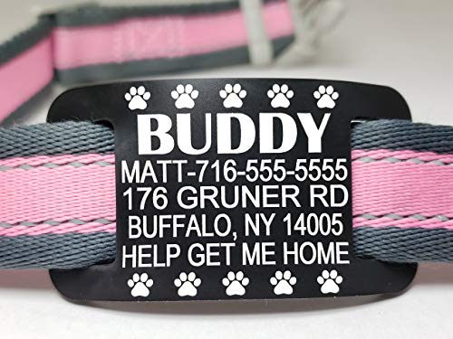 Silent Slide On Pet ID Tags - Premium Pet IDs - Safe Silicone Rubber - Custom Engraved, Waterproof for Dogs and Cats - 5 Lines of Personalized Text