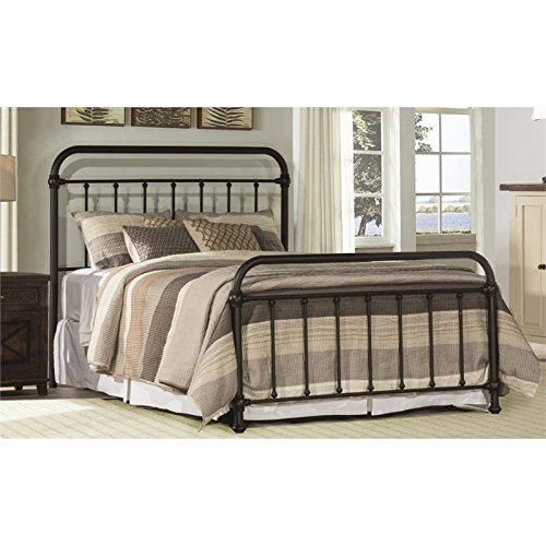 BOWERY HILL King Metal Spindle Panel Bed in Dark Bronze