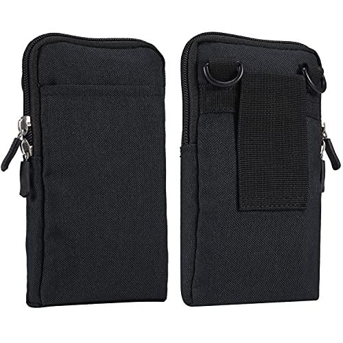 Custodia a tracolla per cellulare da uomo, borsa a tracolla nera, 7,2 pollici verticale per smartphone da cintura da uomo, con clip per cintura, passante per cellulare, custodia per il trasporto