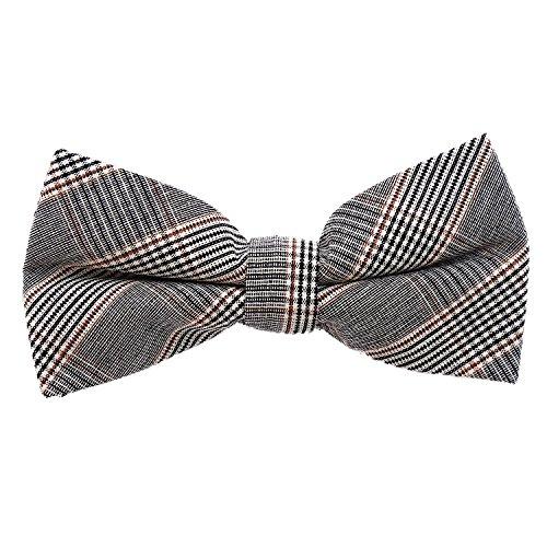 DonDon Herren Fliege 12 x 6 cm kariert gebunden und stufenlos justierbar aus Baumwolle im Tweed Style grau-braun