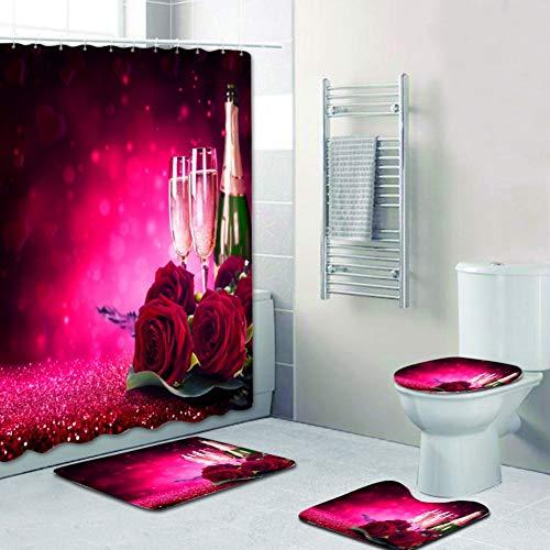 Hankyky Romantische Rote Rose Duschvorhang Set Floral Badezimmer Matte rutschfeste, Polyester Durable Wasserdicht Duschvorhang mit 12 Haken Home Badezimmer Dekor