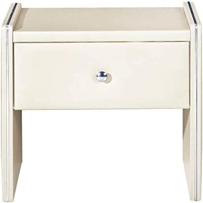 Benjara Leather Upholstered Wooden Nightstand with One Drawer, Cream,
