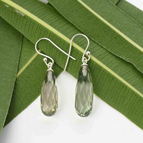 Green Amethyst Earrings, 925 Sterling Silver Amethyst Earrings, February Birthstone Earrings, Winter Fashion Gemstone Dangle Earrings, Green Amethyst Gemstone Earrings