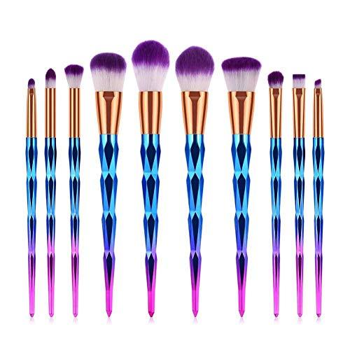 GONGFF 10pcs pinceaux de Maquillage Poudre lèvre Sourcils Eyeliner Fard à paupières fusionné mélange Mise en surbrillance Brosse