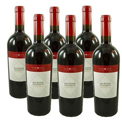 6 Fl. Salende Primitivo Appassimento IGT 2018 Vinosia in Original-Holzkiste, sensationeller Rotwein aus Apulien