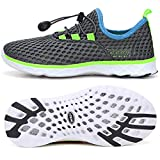 STQ Boys Water Shoes Kids Quick Drying Aqua Athletic Sneakers for Swimming Pool River Dark Gray/Green/Blue 3 M US Little Kid