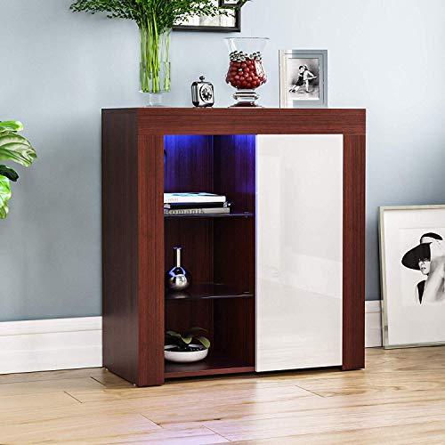 Vida Designs Azura-Aparador LED Moderno de 1 Puerta, Color Nogal y Blanco, RGB (Opciones de luz estroboscópica Incluidas), Estilo Mate de Madera con características de Alto Brillo, Normal