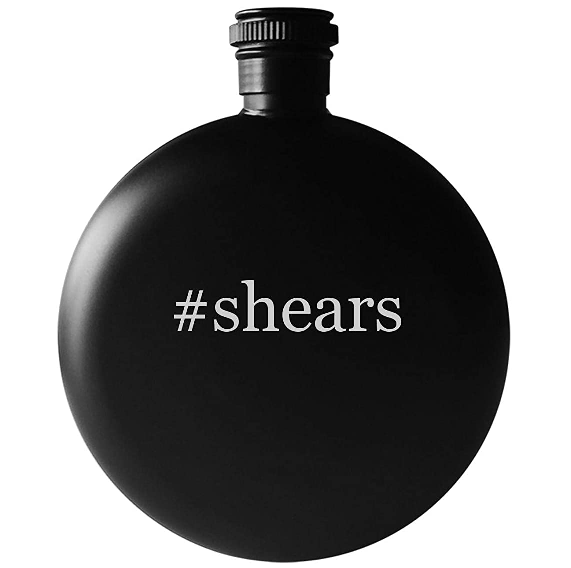 #shears - 5oz Round Hashtag Drinking Alcohol Flask, Matte Black