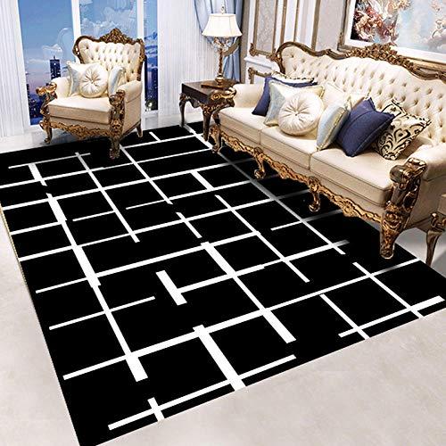 HXJHWB alfombras con Antideslizantes - Sala de Estar Moderna Alfombra Negra línea Blanca Corte Simple impresión 3D Resistencia a Las Manchas-El 100CMx200CM
