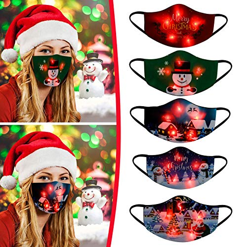 【USA In Stock 】5PCS Adults Face Masks LED Christmas Pattern Lights Glowing Face Covering Face Protection for Women and Men, Fashion Outdoor Washable Reusable Earloop Light Up Face Fabric For Xmas Gift