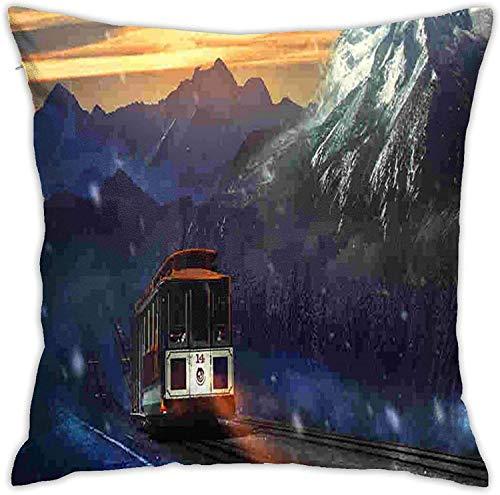 BONRI Train Storm Throw Pillow Cover Funda de Almohada Decorativa Decoración para el hogar Cuadrado , (18'x18 / 45x45cm