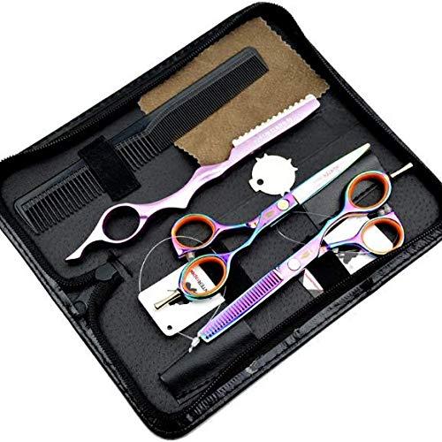 Ciseaux Coiffure Combinaison Set Super Sharp Professionnel Ciseaux de coiffeur Outil Salon Mince Trousse 5.5 Pouce Parfait pour les femmes et les hommes (COLORÉ)