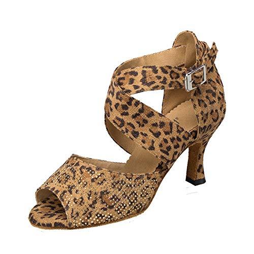 HCCY Zapatos de Baile Latino con Diamantes. Sandalias de Baile de Baile para Mujer Adulta Moderna. Zapatos de Baile de salón de tacón Alto de Leopardo. Primavera y Verano Suaves, 6 cm, 38