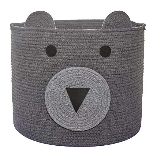 Bear Basket, Toy Storage Bin, Cotton Rope Basket, Woven Laundry Hamper, Cute Storage Basket for Kids Toys, Cloths in Bedroom, Nursery & Living Room, 16